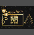 black and gold snowflake and santa for christmas vector image