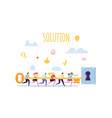 business solution concept businessmen holding key vector image