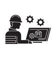 cad drawing black concept icon cad drawing vector image