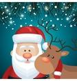card santa and deer faces snowfall night design vector image vector image