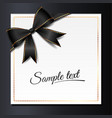 card with black bow vector image vector image