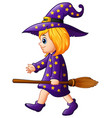 cartoon girl witch with a broom vector image vector image