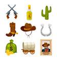 cartoon icon set for wild west theme vector image