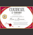 certificate with golden seal and colorful design vector image vector image