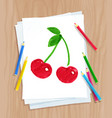 child drawing cherrie vector image vector image