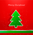 christmas card with ripped paper tree vector image