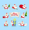 collection of christmas santa claus christmas set vector image vector image