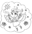 Coloring flying fairy lady vector image vector image