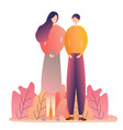 couple male female standing romance love dating vector image vector image