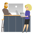 coworking reception man invite to work woman vector image vector image
