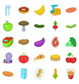 cuisine icons set cartoon style vector image vector image