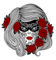day of the dead woman with sugar skull and roses vector image