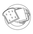 delicious sandwich food in black and white vector image