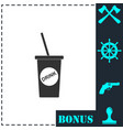 disposable soda cup icon flat vector image vector image
