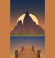 dock on mountain lake at night time vector image