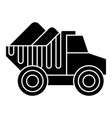 dumper truck with sand icon vector image vector image