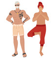 fit people indian man male with tattoos vector image