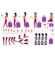 flat woman tourist travel bag creation set vector image vector image