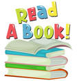 font design for word read a book with stack of vector image vector image
