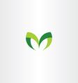 green letter m leaf icon symbol vector image vector image