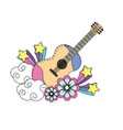 guitar instrument of music with flowers and stars vector image vector image