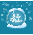 Hello winter circle blue greeting card snow flakes