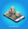 isometric gps navigation conceptual template vector image vector image