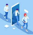 isometric man and woman pass through portal vector image vector image
