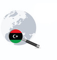 libya flag in magnifying glass vector image