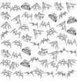 mountains adventure line art pattern linear hills vector image
