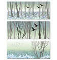 nature bunners with spring forest and birds vector image