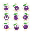 plums - isolated cartoon emoticons vector image vector image