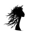 pretty floral woman black silhouette for your vector image vector image