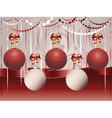Red and White Xmas Balls3 vector image vector image