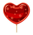 red heart shaped lollipop icon cartoon style vector image vector image