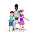 robot with happy children flat vector image