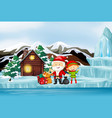 scene with santa and elf in winter vector image