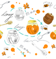 seamless wallpaper with jar of honey vector image