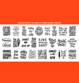 set 25 bakery eating and sweets lettering vector image