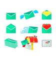 set envelopes icons closed and open paper covers vector image