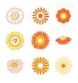 Set of orange simple flowers vector image vector image