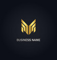 shape line m initial gold logo vector image vector image