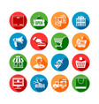 Shopping Long Shadow Icons vector image