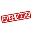 square grunge red salsa dance stamp vector image vector image