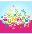 Summer inscription of colored letters with flowers vector image