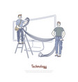 technicians connecting wires and cables smart tv vector image