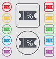 ticket discount icon sign Symbols on the Round and vector image