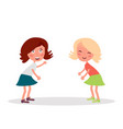 two girlfriends having fun standing and smiling vector image vector image