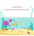 underwater life cartoon banner design vector image