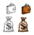 wallet and money icon vector image